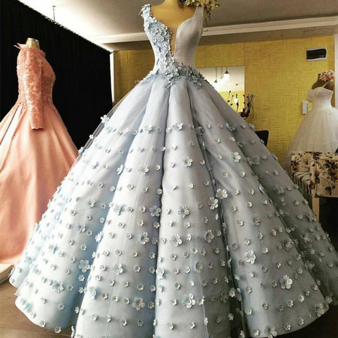 Image of Light Blue Satin V Neck Ball Gown Flower Wedding Dresses