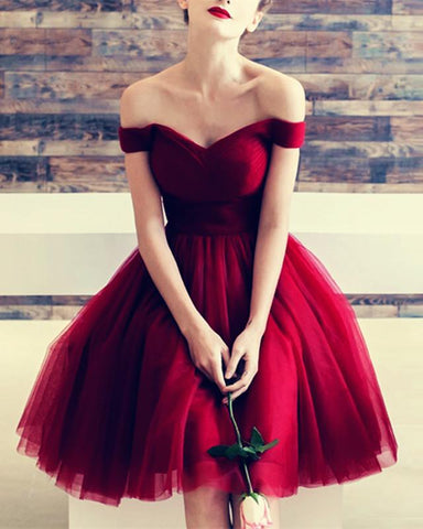 Image of Burgundy-Bridesmaid-Dresses-Tulle-Knee-Length-Cocktail-Party-Dresses