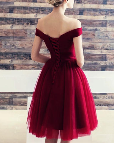 Image of Sexy-Off-The-Shoulder-Homecoming-Dresses-Short-Bridesmaid-Dresses-Dress-For-Wedding-Party