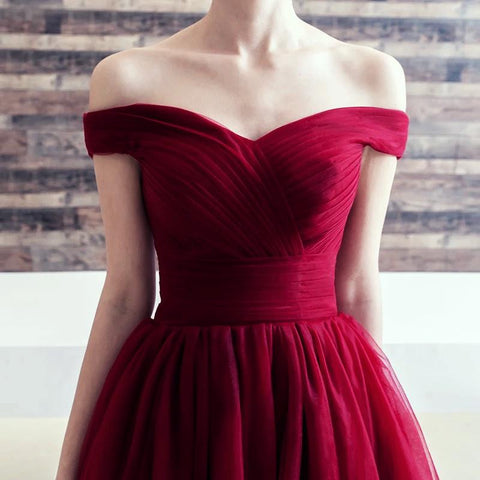 Image of Off-The-Shoulder-Cocktail-Party-Dresses-Elegant-Homecoming-Dress
