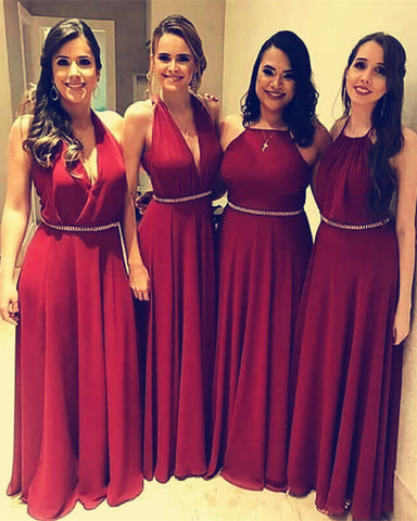 Image of Burgundy-Bridesmaid-Dress