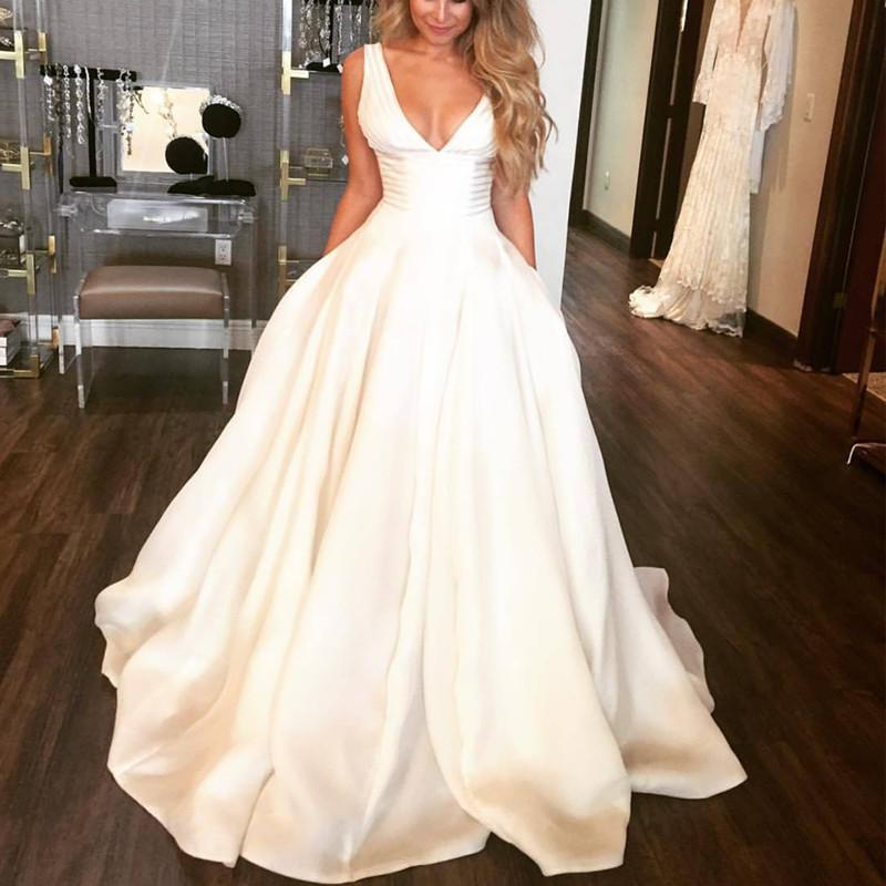 Flawless Satin V Neck Wedding Dresses Ball Gowns 2018