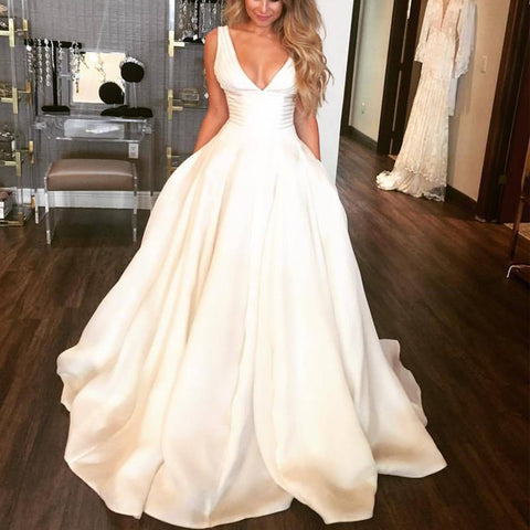 Image of Flawless Satin V Neck Wedding Dresses Ball Gowns 2018