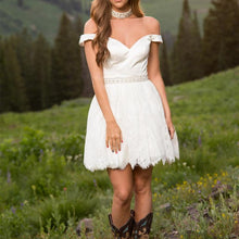 Load image into Gallery viewer, Elegant White Satin Off Shoulder Lace Homecoming Dresses