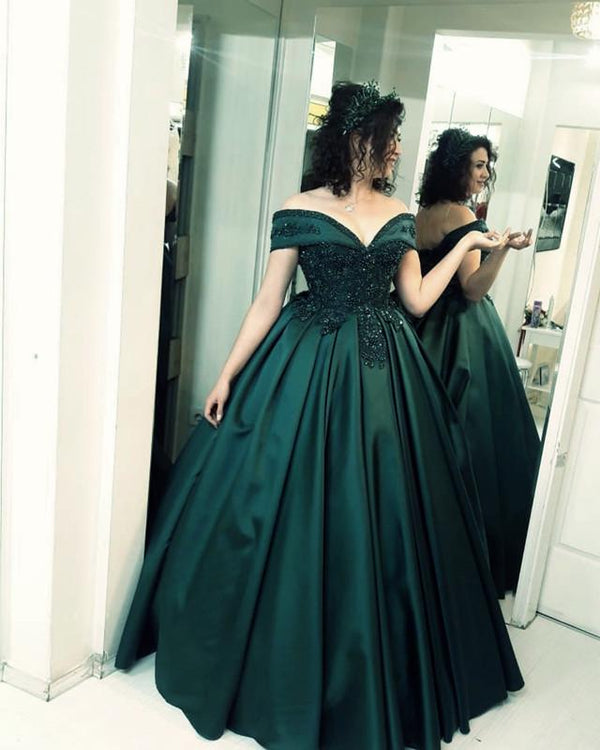 Lace Beaded Corset Off Shoulder Satin Ball Gowns Prom Dresses