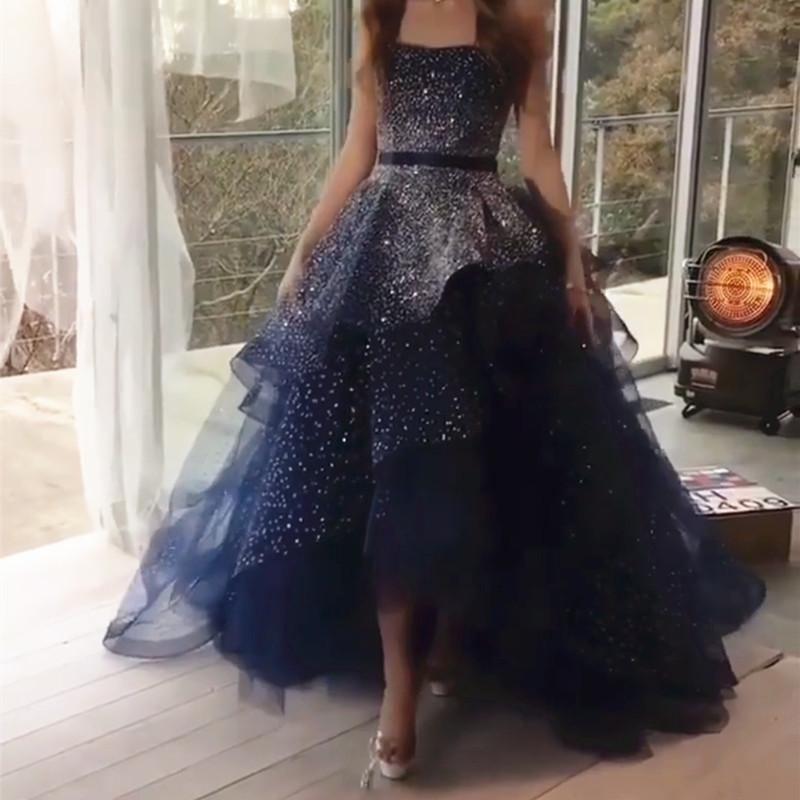 Fully Beading Strapless Navy Blue Ball Gown Prom Dresses 2018