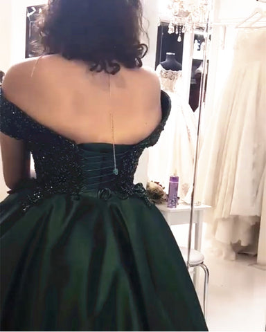 Image of Lace Beaded Corset Off Shoulder Satin Ball Gowns Prom Dresses
