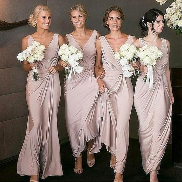 Nude Pink Long Chiffon V Neck Bridesmaid Dresses
