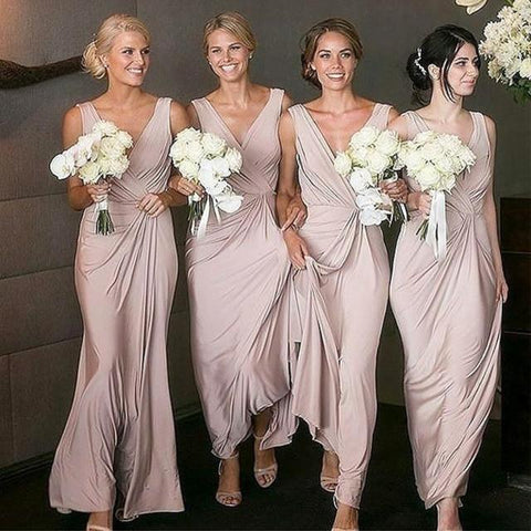 Image of Nude Pink Long Chiffon V Neck Bridesmaid Dresses