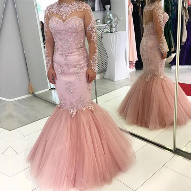 Pink Lace Appliques Long Sleeves Mermaid Evening Dresses