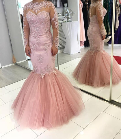 Image of Pink Lace Appliques Long Sleeves Mermaid Evening Dresses