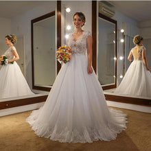 Load image into Gallery viewer, Elegant Lace Cap Sleeves Nude Back Tulle Wedding Dresses Princess 2018