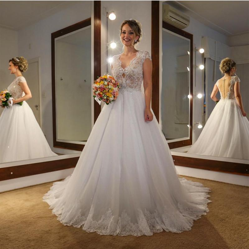 Elegant Lace Cap Sleeves Nude Back Tulle Wedding Dresses Princess 2018