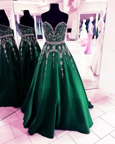 Image of Dark-Green-Ball-Gowns