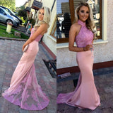Long-Pink-Mermaid-Halter-Prom-Dresses-Formal-Evening-Gowns-Lace-Appliques