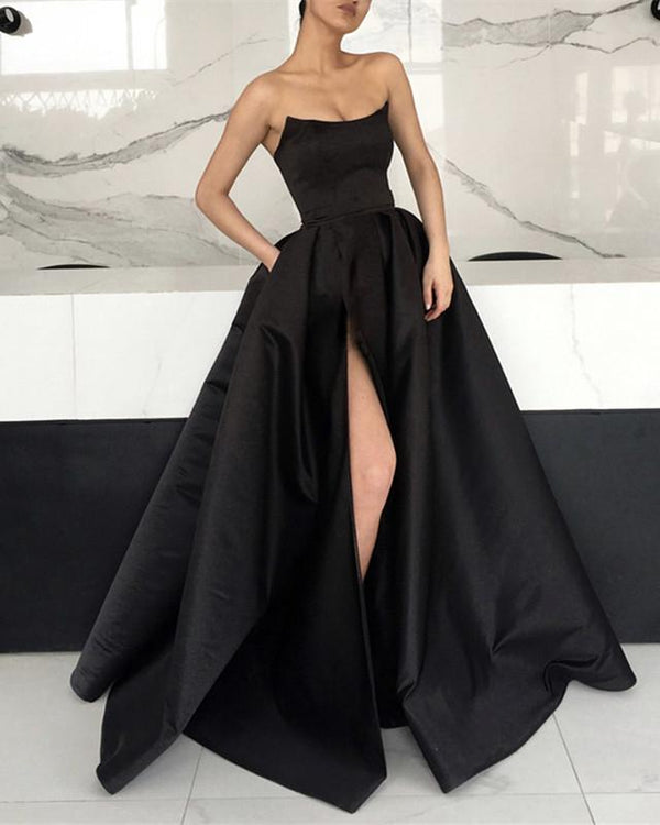 Strapless Bodice Corset Long Satin Leg Split Evening Dresses