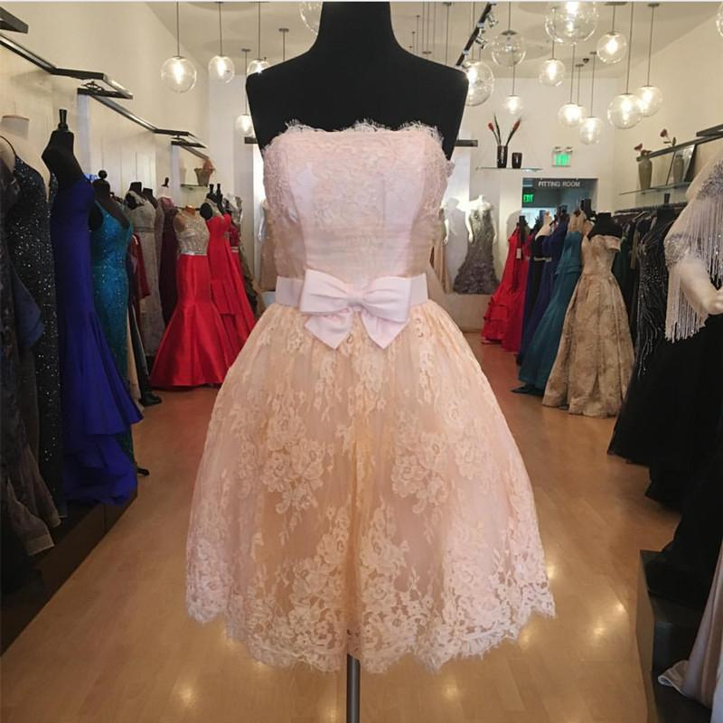 Strapless Lace Homecoming Dresses Short Prom Gowns 2018