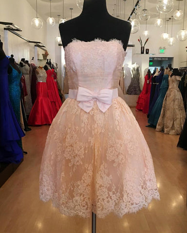 Image of Short A-line Strapless Bow Sashes Lace Homecoming Dresses