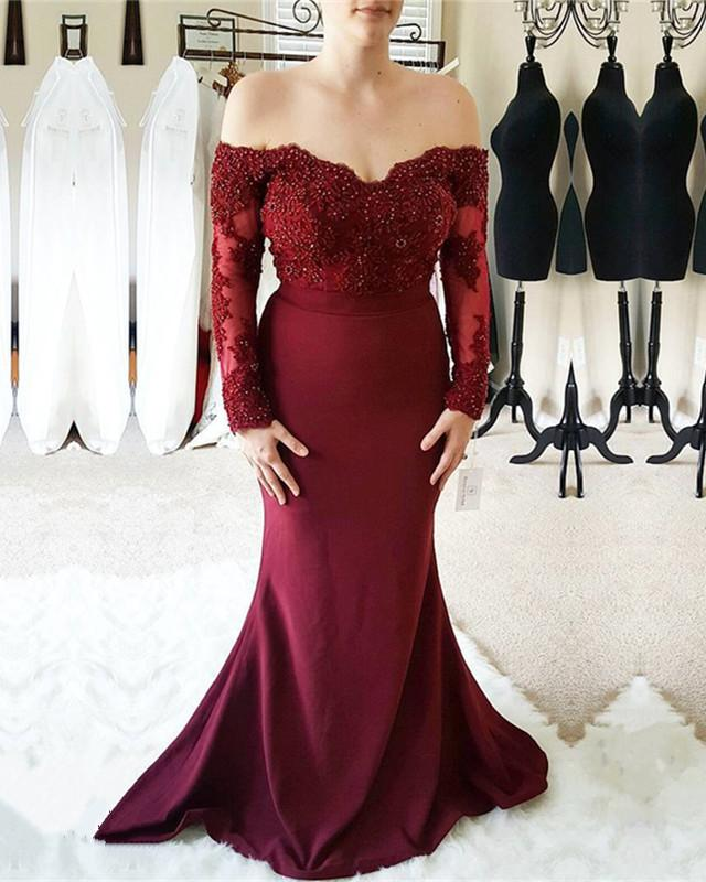 f9a1c71a3f33 Double tap to zoom · Long-Sleeves-Bridesmaid-Dresses. Double tap to zoom · Burgundy  Lace Off Shoulder Mermaid Long Sleeves Bridesmaid Dresses