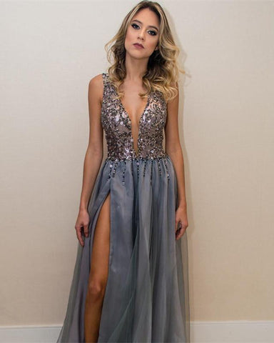Image of Silver Evening Dress