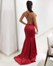 Afbeelding in Gallery-weergave laden, Long Satin V-neck Mermaid Evening Dresses Open Back Prom Gowns
