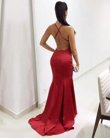 Image of Long Satin V-neck Mermaid Evening Dresses Open Back Prom Gowns