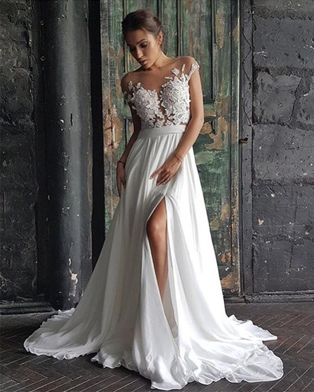 a76bb66aa1 Boho Lace Cap Sleeves Long Chiffon Split Beach Wedding Dress 2019 ...