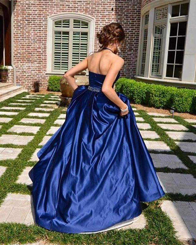 halter long satin red ball gowns prom dresses open back
