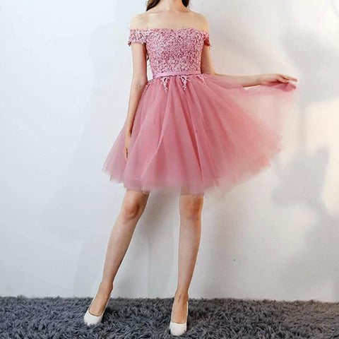 Image of Short Pink Lace Off The Shoulder Bridesmaid Dresses For Wedding Party