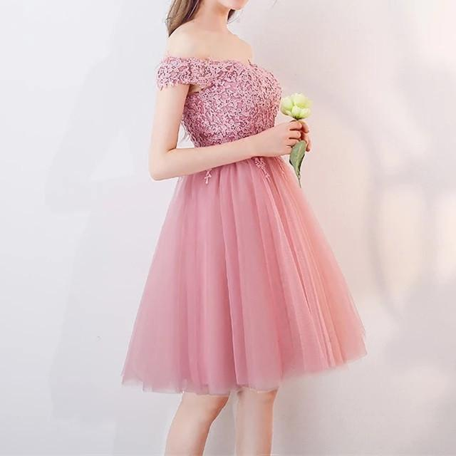 Short Pink Lace Off The Shoulder Bridesmaid Dresses For Wedding Party