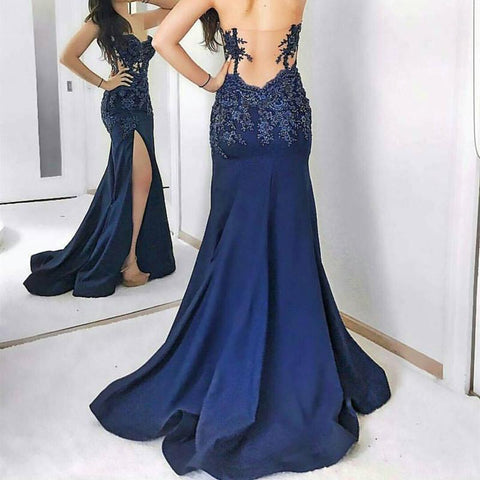 Image of Navy Blue Lace Appliques Sweetheart Mermaid Evening Gowns With Leg Slit