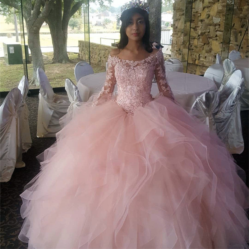 d6692ac4ce Light Pink Organza Ruffles Ball Gowns Quinceanera Dresses Lace Long ...