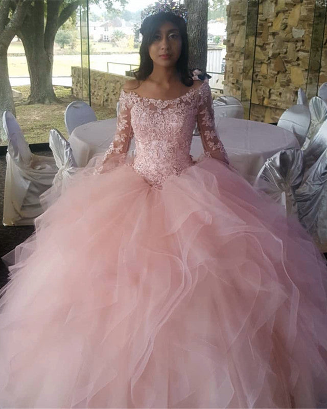 1c398b44fa2 Light Pink Organza Ruffles Ball Gowns Quinceanera Dresses Lace Long ...