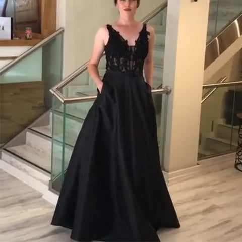 Image of Lace Appliques V Neck Long Black Satin Evening Gowns With Pockets