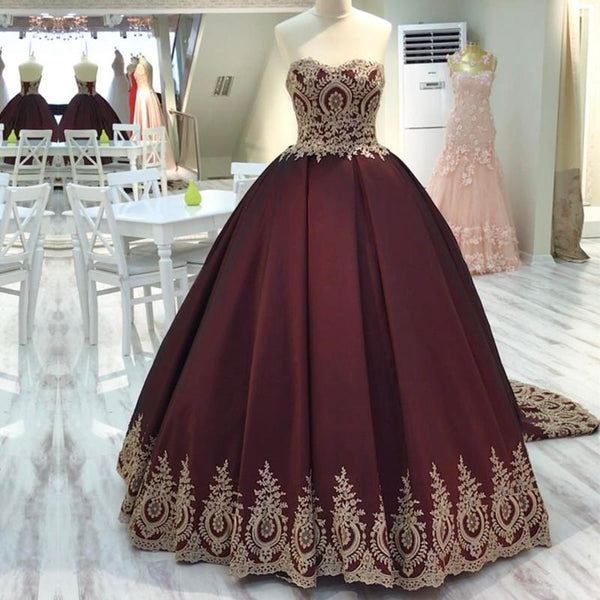 Gold Lace Edge Sweetheart Wine Red Ball Gowns Quinceanera Dresses