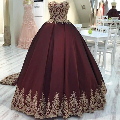 Image of Gold Lace Edge Sweetheart Wine Red Ball Gowns Quinceanera Dresses