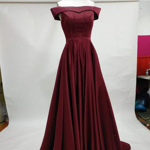 Image of Long Burgundy Satin Evening Gowns Off The Shoulder Prom Dresses 2018