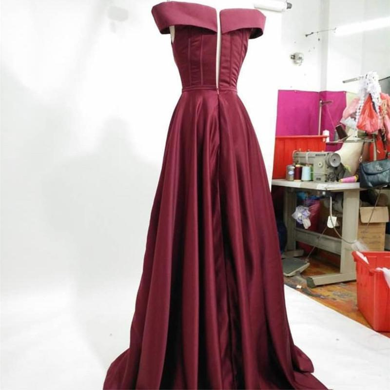 Long Burgundy Satin Evening Gowns Off The Shoulder Prom Dresses 2018