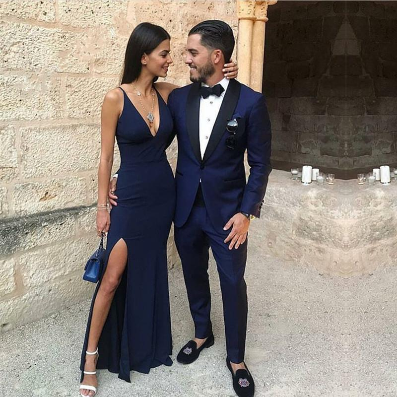54229b69dae Double tap to zoom · Navy Blue Chiffon Long Mermaid Prom Dresses 2018  Formal Evening ...