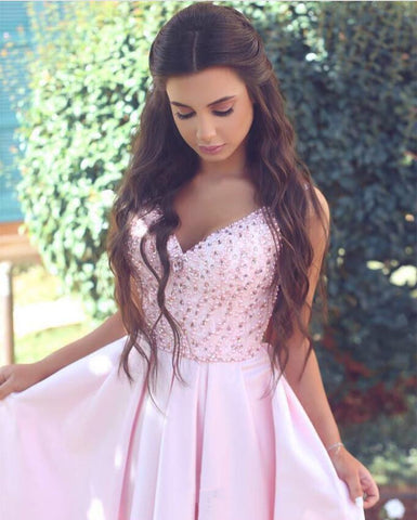 Image of Pretty Pink Satin Evening Gowns Beaded V Neck Long Prom Dresses 2018