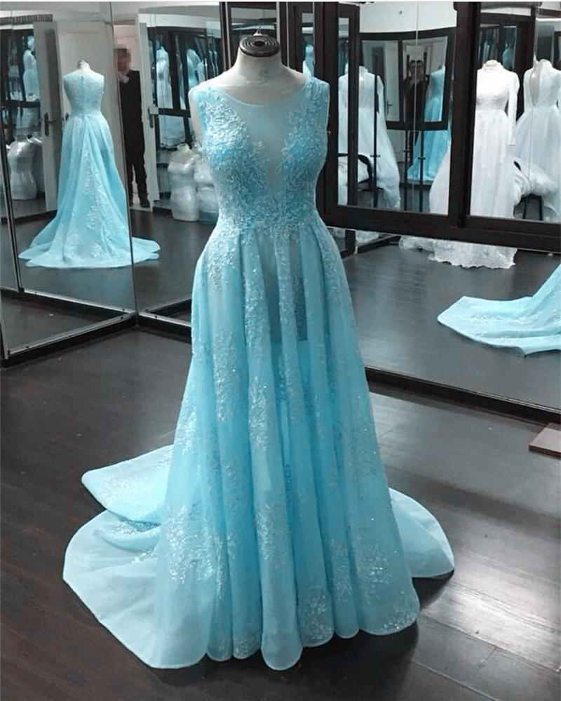 Boat Neck Cap Sleeves Lace Prom Dresses 2018 See Through Evening Gowns