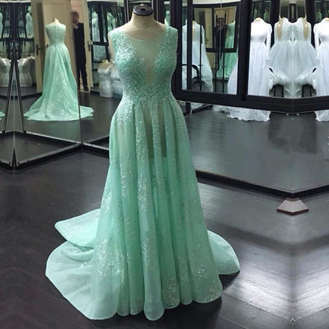 Image of Boat Neck Cap Sleeves Lace Prom Dresses 2018 See Through Evening Gowns