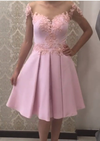Image of Cute A Line Satin Cap Sleeves Homecoming Dresses Lace Appliques