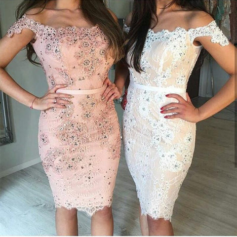 Image of Short Lace Off The Shoulder Prom Homecoming Dresses Sheath