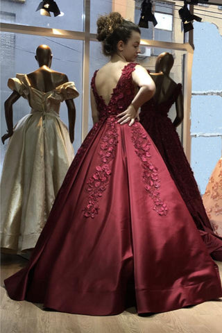 Image of 3D Flowers Embroidery V-neck Satin Ball Gowns Prom Dresses