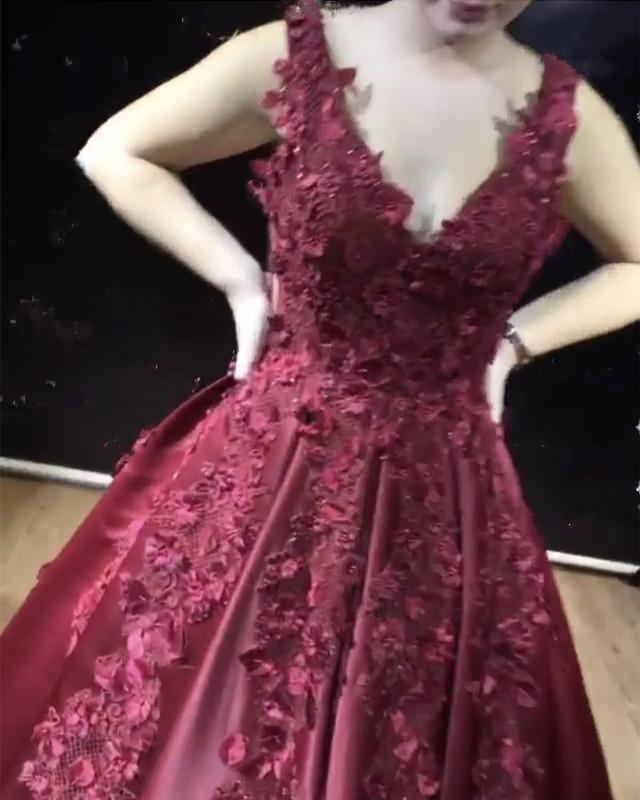 3D Flowers Embroidery V-neck Satin Ball Gowns Prom Dresses