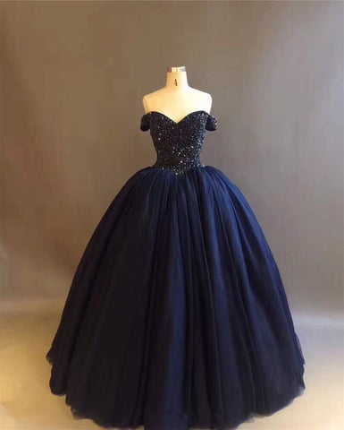 Image of Bling Bling Crystal Beaded Bodice Corset Navy Blue Ball Gowns Wedding Dresses Off The Shoulder