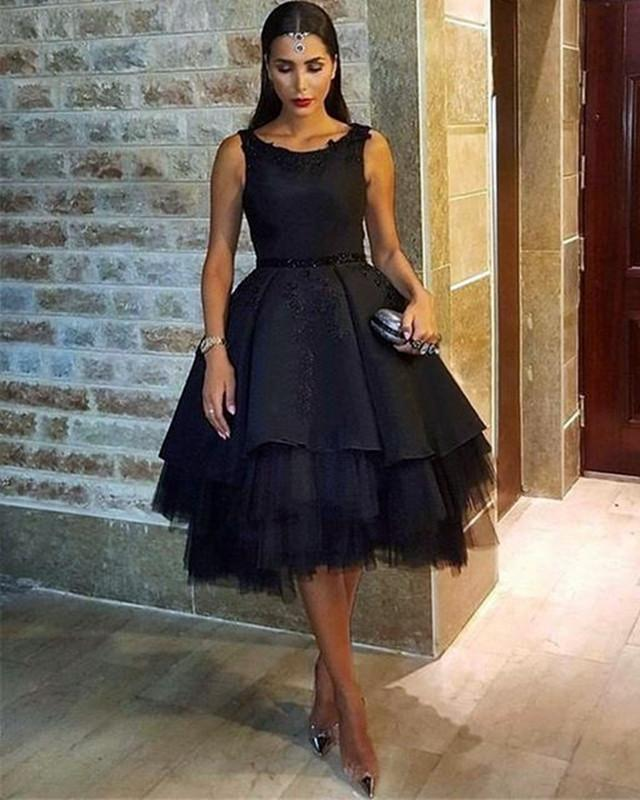 Black Tulle Ball Gowns Homecoming Dresses Open Back