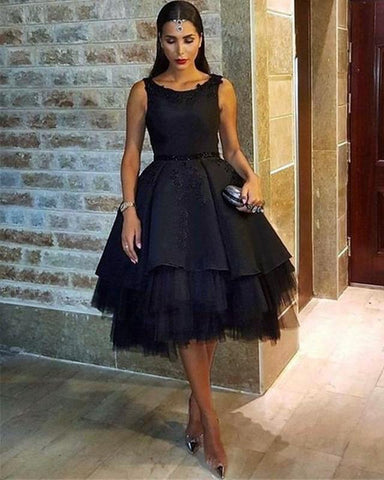 Image of Black Tulle Ball Gowns Homecoming Dresses Open Back