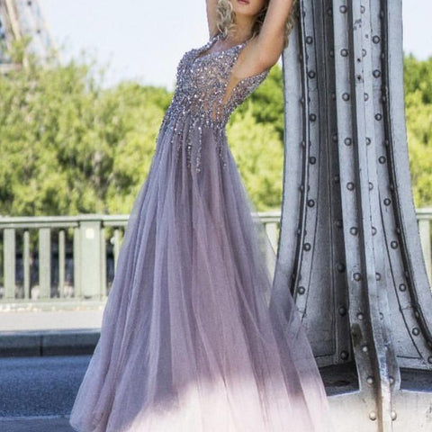 Image of Sequins Beaded V Neck Gray Tulle V Neck Long Evening Gowns
